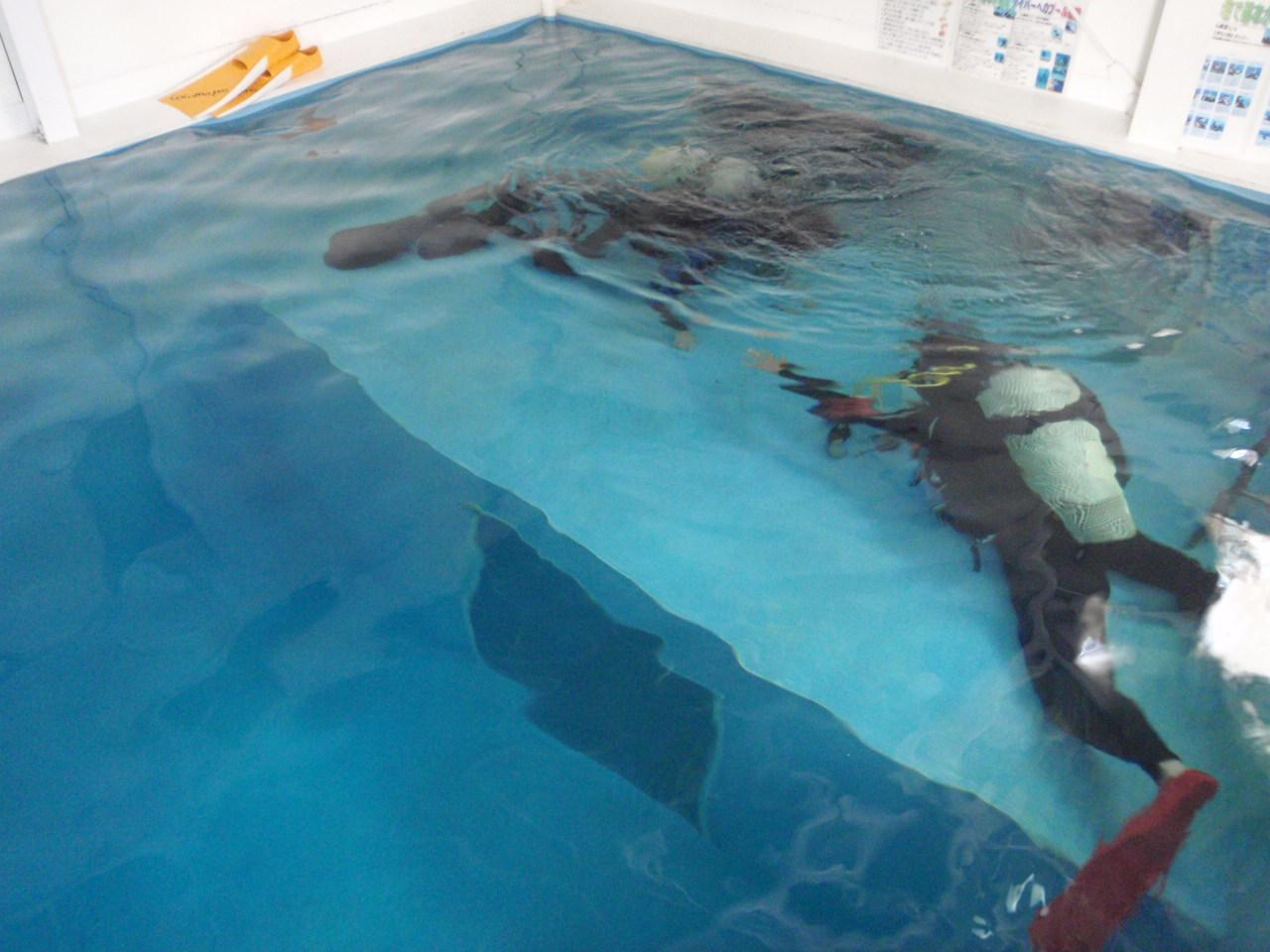 急きょのダイビングライセンスコースに対応できる店内プールを完備しているので今日もリクエストに快く対応できました!