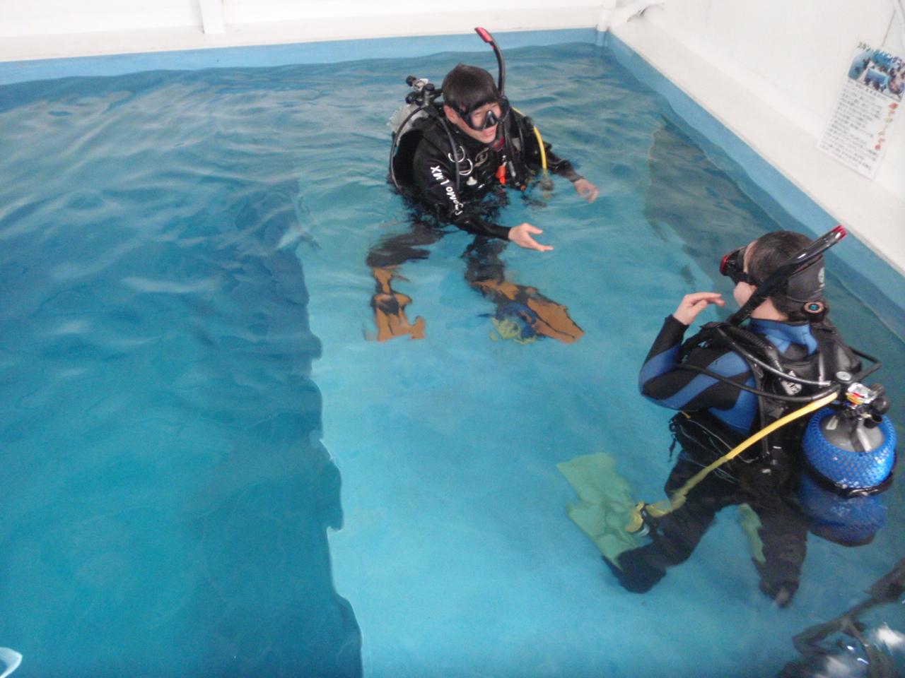 ココモプールで体験ダイビング(実績はライセンスコースにカウントされます)