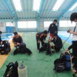 家島高校でダイビング授業